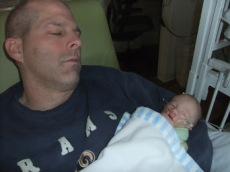 Snoozing with daddy